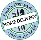 Home Delivery Logo. Fork, knife, and a spoon in a blue circle