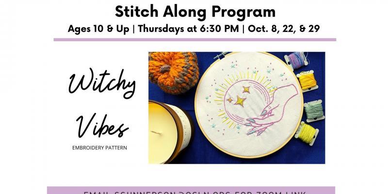 stitch along thursdays at 6:30 on zoom on October 8, 22, 29